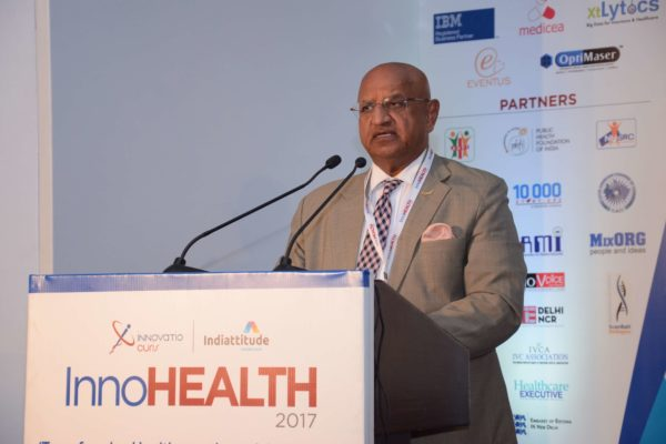 Brig(Hony) Dr Arvind Lal addressing the audience at InnoHEALTH 2017