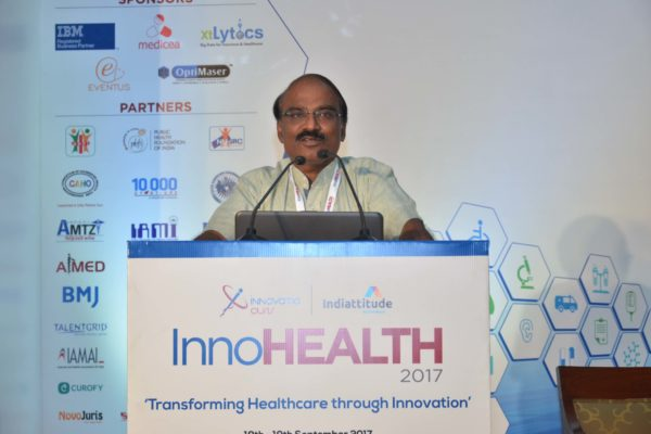 Dr D Prabhakaran addressing the audience in session 4 at InnoHEALTH 2017