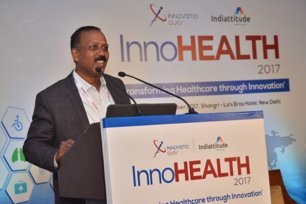 Dr S Venkataramanaiah addressing the audience in session 5 at InnoHEALTH 2017
