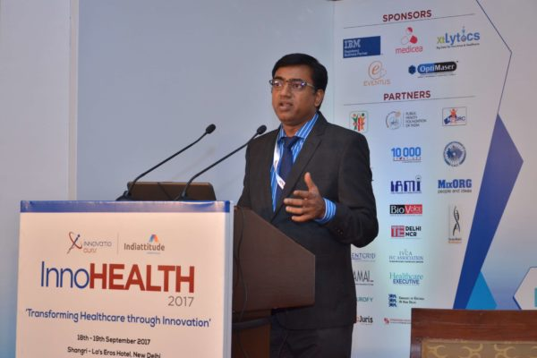 Rengarajan Iyengar addressing the audience at InnoHEALTH 2017