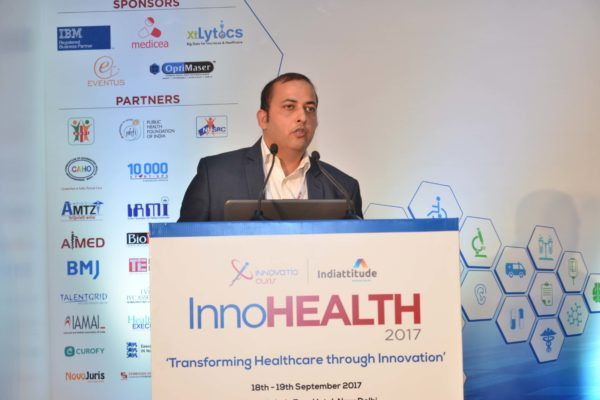 Sachin Gaur addressing the audience in session 9 at InnoHEALTH 2017