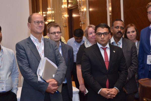 Jan Erik Hedborg, Joonas Ihalainen, Ankit Bahl, Dr S Venkataramanaiah, Katja, Marjatta at the start of B2B meeting at InnoHEALTH 2017