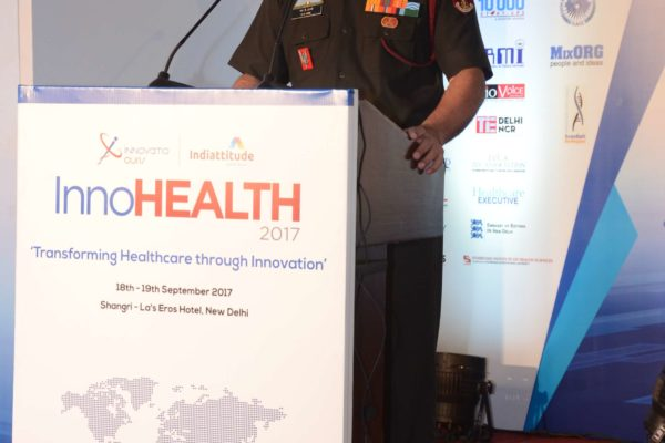 Lt Gen Manoj Kumar Unni addressing the audience in inaugural session at InnoHEALTH 2017