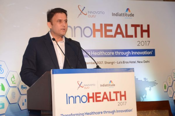 Amit Saroj addressing the audience in inaugural session at InnoHEALTH 2017