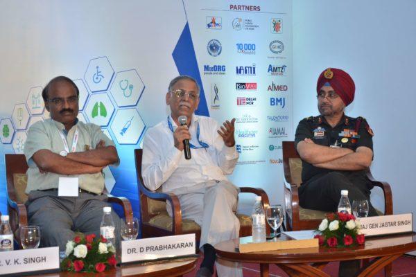 Dr D Prabhakaran, Dr SanjivKumar and Maj Gen Jagtar Singh participate in session 4 of InnoHEALTH 2017