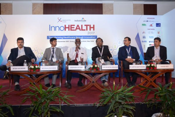 Panel discussion of session 3 in progress at InnoHEALTH 2017