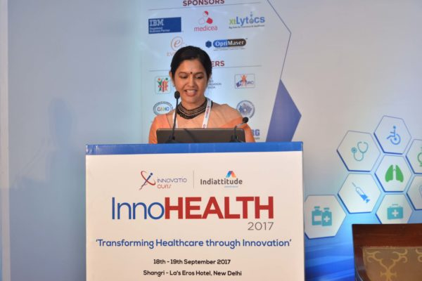 Dr Nimmi Rastogi sharing her views on Challenges & Redefining Healthcare Landscape at InnoHEALTH 2017