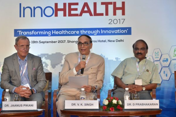 Dr Jaanus Pikani, Dr V K Singh and Dr D Prabhakaran - participants of session 4 at InnoHEALTH 2017