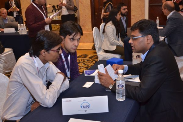 Pavan Asalapuram from EMPE diagnostics interacting with HCL Healthcare and Technomed representatives at B2B meeting of InnoHEALTH 2017