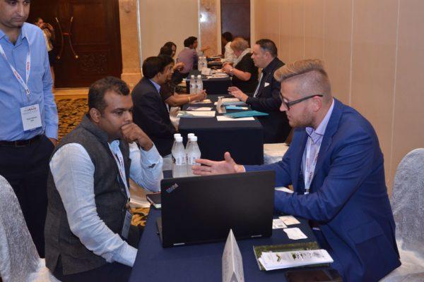 Priit Aigro from healBED interacting with Ashish Kumar at B2B meeting of InnoHEALTH 2017