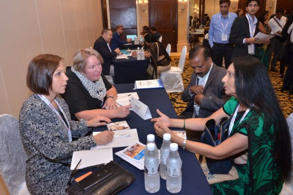 Katja and Marjatta from Turku University of Applied Sciences interacting with Dr S Venkataramanaiah from IIM Lucknow and Poornima Mittal from Sharda University