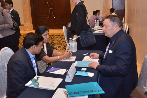 Pieter Spee of FibroTx interacting with Oncquest laboratories representatives at B2B meeting of InnoHEALTH 2017