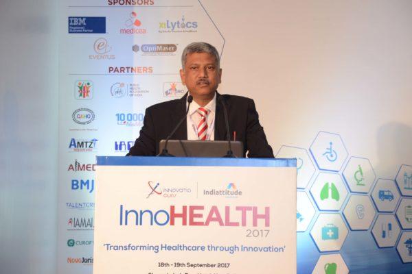 Partha Dey speaking in session 1 at InnoHEALTH 2017