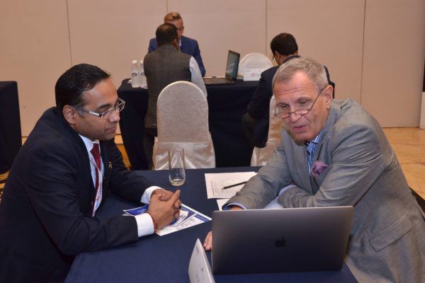 Dr Jaanus Pikani of Documental interacting with Surjeet Thakur of Triotree technologies at B2B meeting of InnoHEALTH 2017