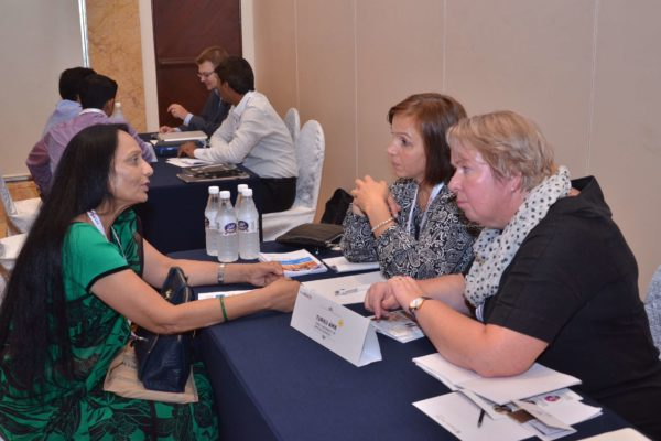 Katja and Marjatta from Turku University of Applied Sciences interacting with Poornima Mittal from Sharda University at B2B meeting of InnoHEALTH 2017