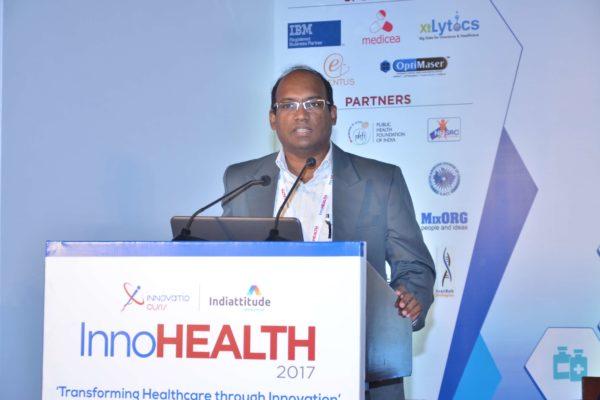 Prasanna Ganapa showcasing his innovation at InnoHEALTH 2017