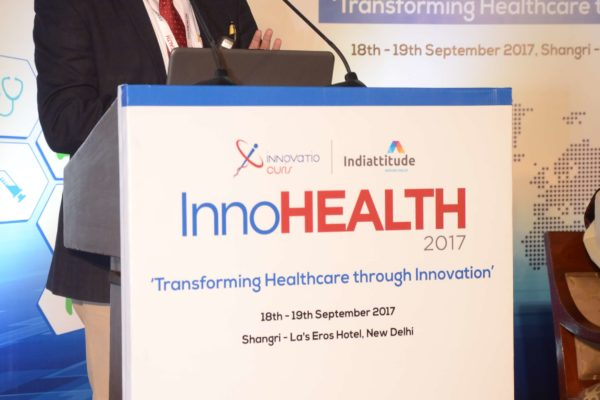 Surjeet Thakur speaking in session 1 at InnoHEALTH 2017