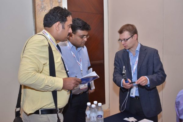 Joonas Ihalianen from iCare interacting with Mankind Pharmaceuticals representatives at B2B meeting of InnoHEALTH 2017