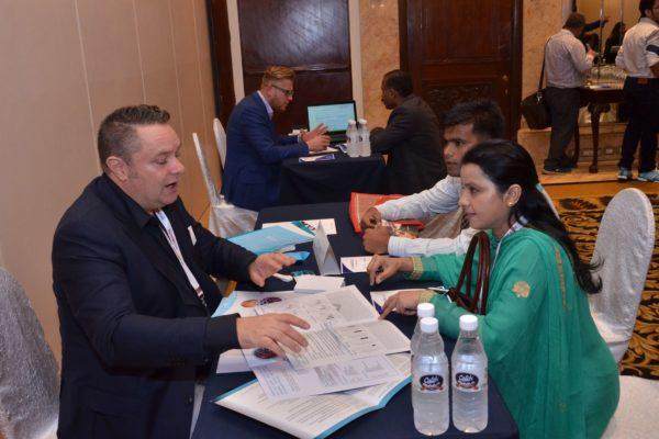 Pieter Spee from FibroTx interacting with representatives from Rhuto India at B2B meeting of InnoHEALTH 2017