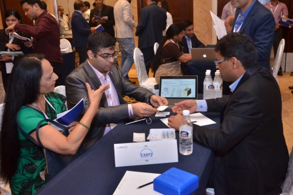 Pavan Asalapuram from EMPE diagnostics interacting with Poornima Mittal from Sharda University at B2B meeting of InnoHEALTH 2017