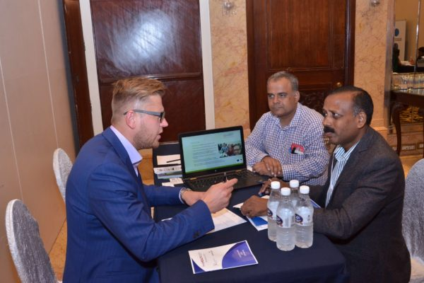 Priit Aigro from healBED interacting with Dr S Venkataramanaiah at B2B meeting of InnoHEALTH 2017