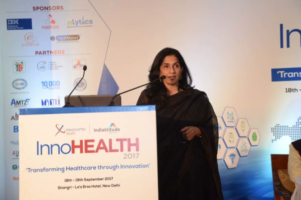 Dr Arti Maria speaking in session 1 at InnoHEALTH 2017