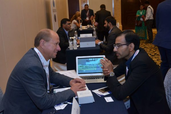 Jan Erik Hedborg from ApiRays interacting with a representative from BLK hospitals at B2B meeting of InnoHEALTH 2017