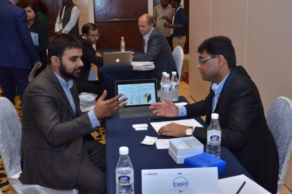 Pavan Asalapuram from EMPE diagnostics interacting with representatives from Invest India at B2B meeting of InnoHEALTH 2017