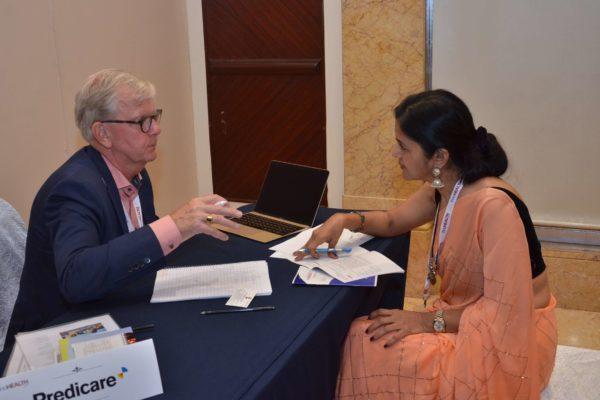 Hakan Jideus from Predicare interacting with Dr Nimmi Rastogi at B2B meeting of InnoHEALTH 2017