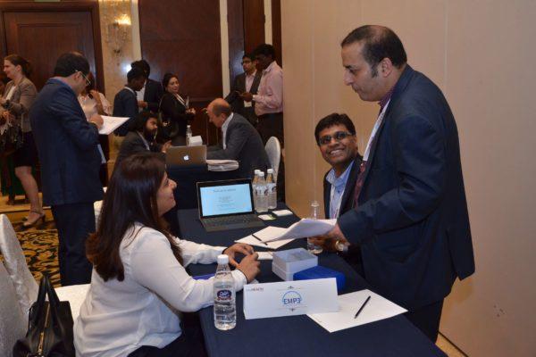 Pavan Asalapuram from EMPE diagnostics, Prarthana Gandhi and Sachin Gaur share a light moment at B2B meeting of InnoHEALTH 2017