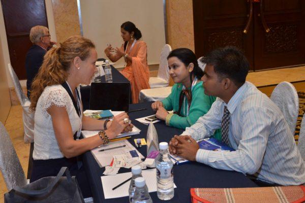 Caroline Danielson of Renapharma AB interacting with representatives from Rhuto India at B2B meeting of InnoHEALTH 2017