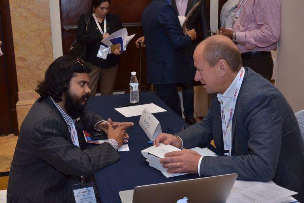 Jan Erik Hedborg from ApiRays interacting with Dr Dayaprasad G Kulkarni at B2B meeting of InnoHEALTH 2017