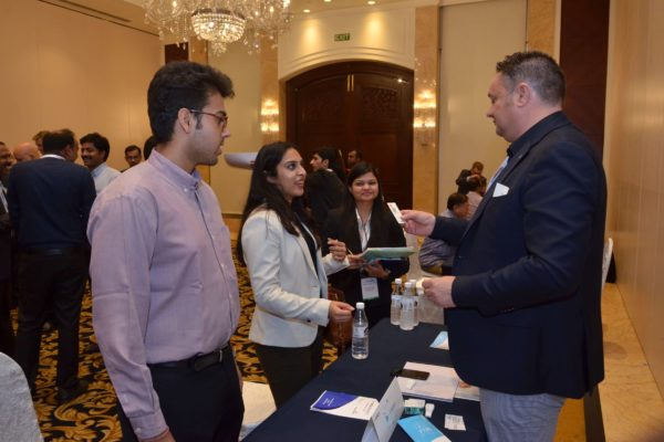 Pieter Spee from FibroTx interacting with Karnica from Invest India at B2B meeting of InnoHEALTH 2017
