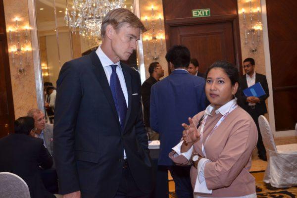 Swedish Ambassador to India and Shampa Bari from Swecare at B2B meeting of InnoHEALTH 2017