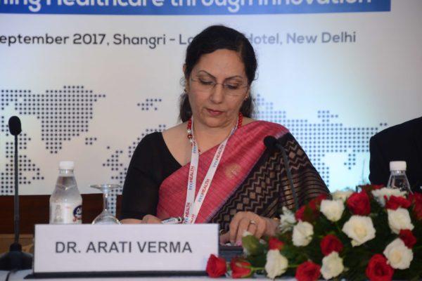 Session 1 moderator Dr Arati Verma at InnoHEALTH 2017