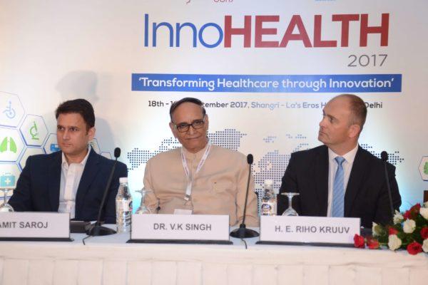 Amit Saroj, Dr V K Singh and Riho Kruuv at the inaugural session of InnoHEALTH 2017