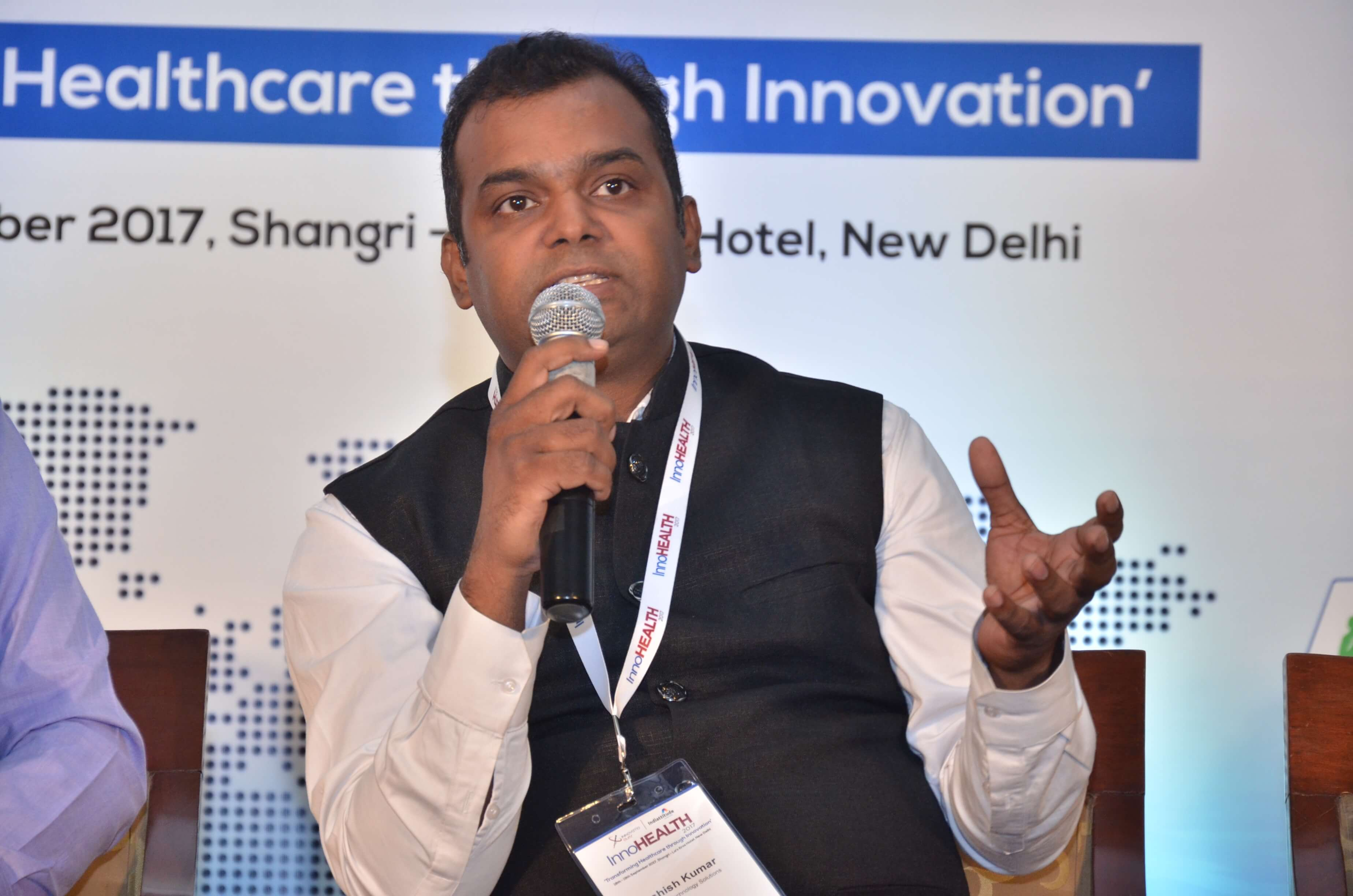Ashish Kumar sharing his views on innovations in pharma sector at InnoHEALTH 2017