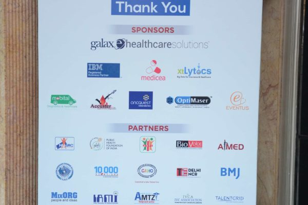 InnoHEALTH 2017 standee showcasing sponsors and partners