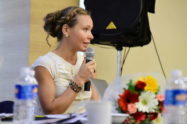 Caroline Danielson from RenaPharma asking a question at InnoHEALTH 2017 Bangalore leg