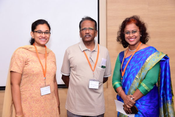 Swetha Suresh and Dr Shan with Sharda Balaji at InnoHEALTH 2017 Bangalore leg