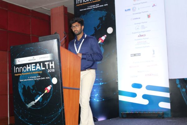 1. Team SAK presents their innovation on remote controlling of eletrical appliance for the elderly in the Young innovators award session at InnoHEALTH 2018