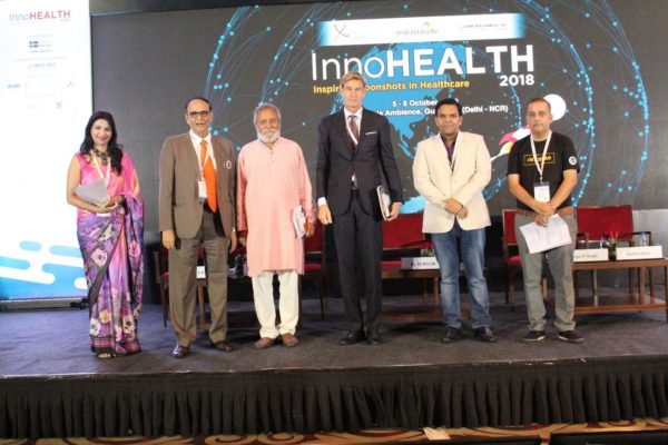 18. Dr Swati Maheshwari, Dr V K Singh, Dr Anil Kumar Guptam, H.E Klas Molin, Srijan Pal and Sachin Gaur at the inaugural session of InnoHEALTH 2018