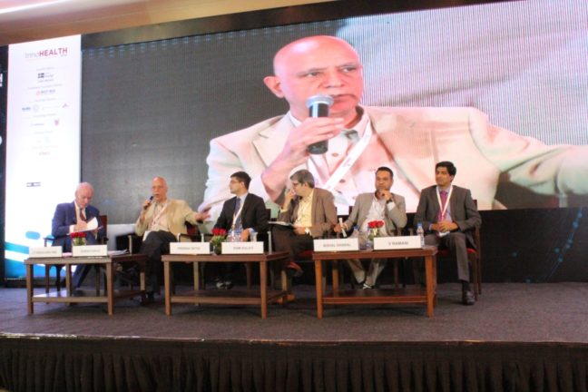 2. Panel discussion in progess at session on Achieving universal health coverage, insurance led innovations and AYUSH at InnoHEALTH 2018