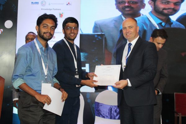 20. Deval Karia and Rohit S Nambiar receive the first place at young innovators award of InnoHEALTH 2018