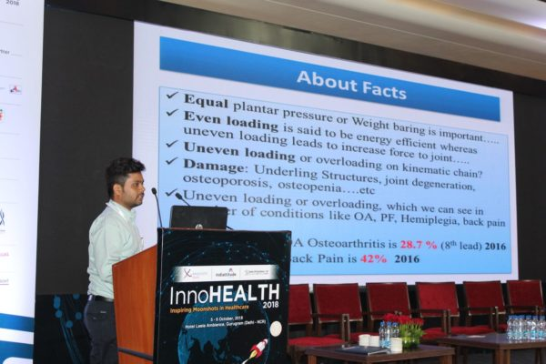 3. Dr Hemal Patel presents his innovation on lower limber weight distribution assessment device in the Young innovators award session at InnoHEALTH 2018