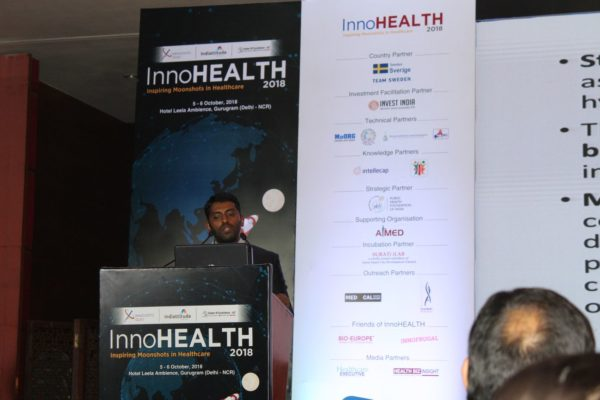 4. Dhananjay KVN presents his innovation on voxel base analysis for pediatric brain mapping in the Young innovators award session at InnoHEALTH 2018
