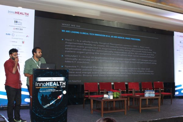 5. Abhishek Venkataram and Sanidhya Rasiwasia present their innovation on navi surgical navigation ssytem in the Young innovators award session at InnoHEALTH 2018
