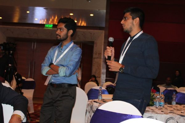 6. Deval Karia and Rohit S Nambiar have a discussion with Abhishek Venkataram in the Young innovators award session at InnoHEALTH 2018