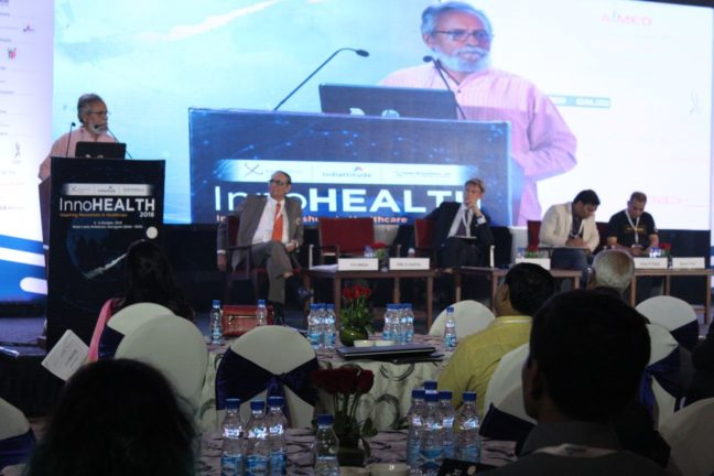 8. Dr Anil Kumar Gupta from the Honey Bee network gives the keynote address at InnoHEALTH 2018 inaugural session