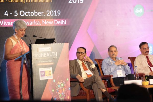 Dr Yasmin Ali Haque, Lt General (Dr) Rajesh Pant, Dr. V K Singh, Karnal Singh at Inaugural session InnoHEALTH2019